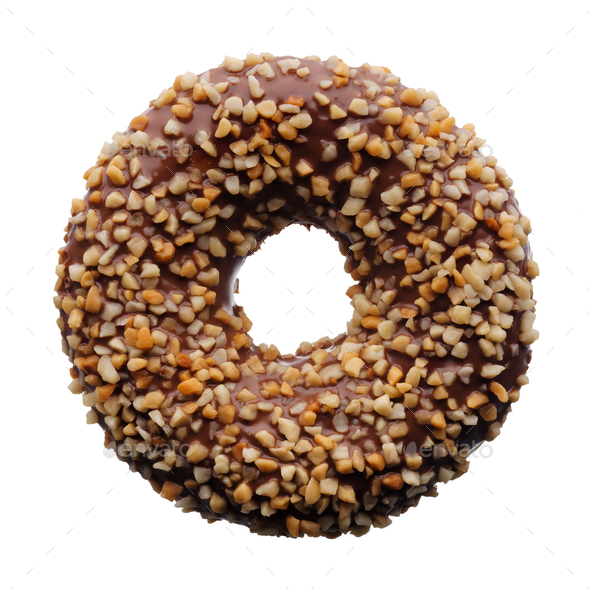 Chocolate and crushed nuts donut - Stock Photo - Images