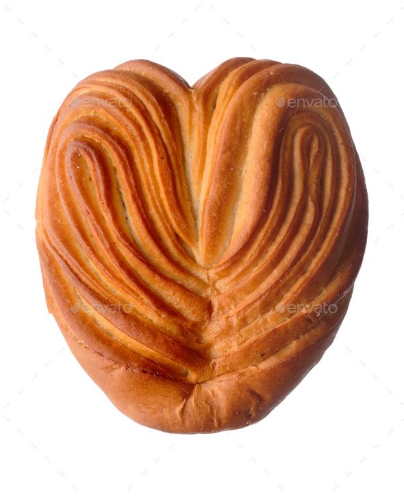 Heart-shaped sweet bun - Stock Photo - Images