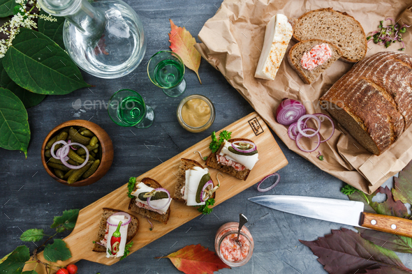 Appetizers with bread and lard, top view - Stock Photo - Images