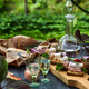 Lard, bread, appetizers and vodka on a table - PhotoDune Item for Sale