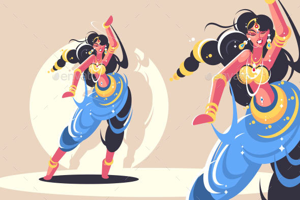 Indian Girl Traditional Dance - People Characters