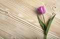 Bouquet of lilac tulips on natural wooden background with space