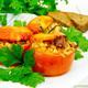Tomatoes stuffed with bulgur and parsley in plate on board - PhotoDune Item for Sale