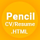 Pencil- Virtual Business Card CV Resume HTML Template - ThemeForest Item for Sale