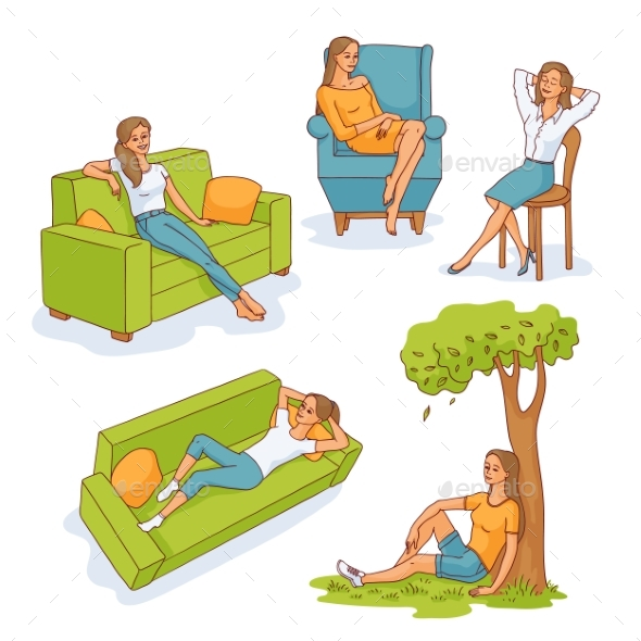 Vector Sketch Young Woman Resting Set - People Characters