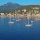 Aerial View Yacht and Sailboats Moored at the Quay - VideoHive Item for Sale