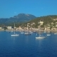 Aerial View of a Sailboat Near the Coast of Majorca, Spain - VideoHive Item for Sale