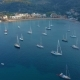 Aerial View of a Sailboat Near the Coast of Majorca Spain - VideoHive Item for Sale