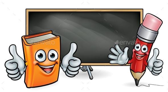 Book and Pencil Mascots and Blackboard - Miscellaneous Vectors