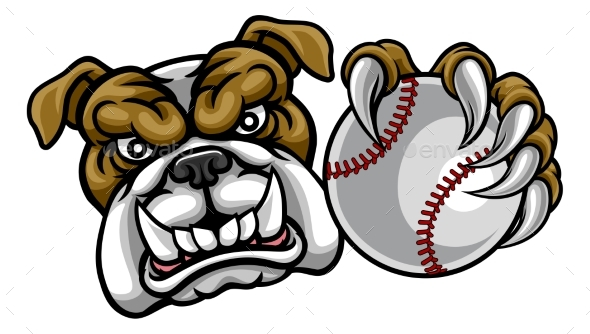 Bulldog Dog Holding Baseball Ball Sports Mascot - Sports/Activity Conceptual