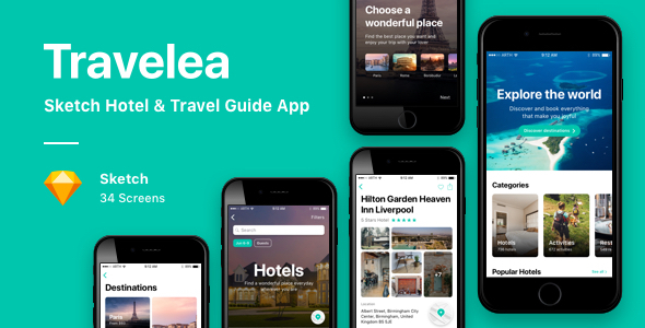 Travelea - Sketch Hotel & Travel Guide App - Sketch Templates