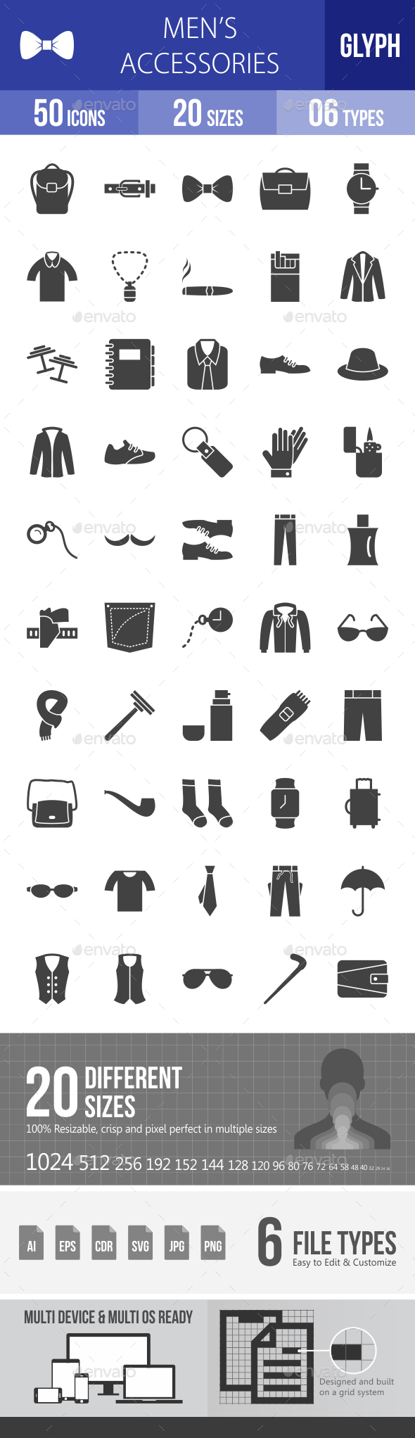 Men's Accessories Glyph Icons - Icons