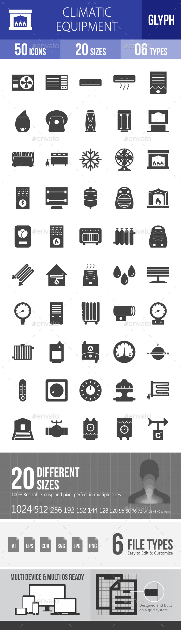 Climatic Equipment Glyph Icons - Icons