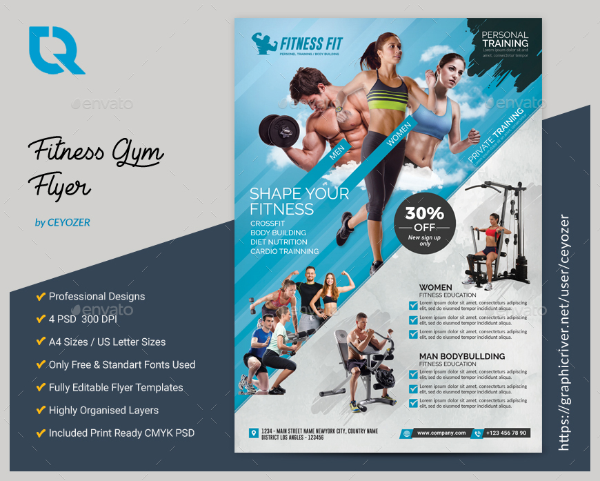 Fitness Flyer By CEYOZER GraphicRiver