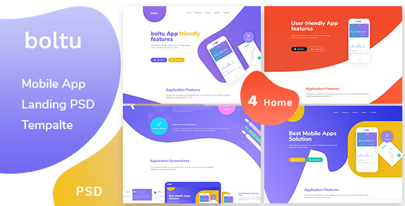 Boltu - Mobile App Landing PSD Template - Creative PSD Templates