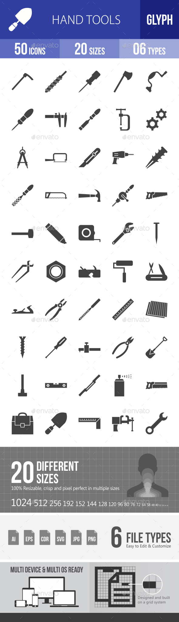 Hand Tools Glyph Icons - Icons
