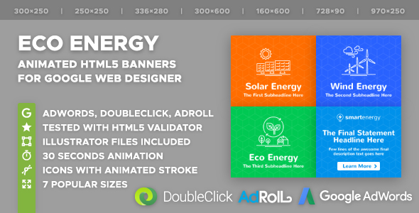 Smart Energy - Eco Energy HTML5 Banner Ad Templates (GWD)            Nulled