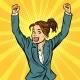 Joyful Woman Winning Hand Gesture Up