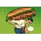 Man Carries a Hot Dog Sausage with Salad - GraphicRiver Item for Sale