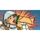 Hungry Woman Astronaut Eating Kebab Doner Shawarma - GraphicRiver Item for Sale