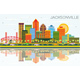 Jacksonville Florida Skyline with Color Buildings