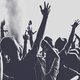 People with raised arms partying at concert. Toned image - PhotoDune Item for Sale