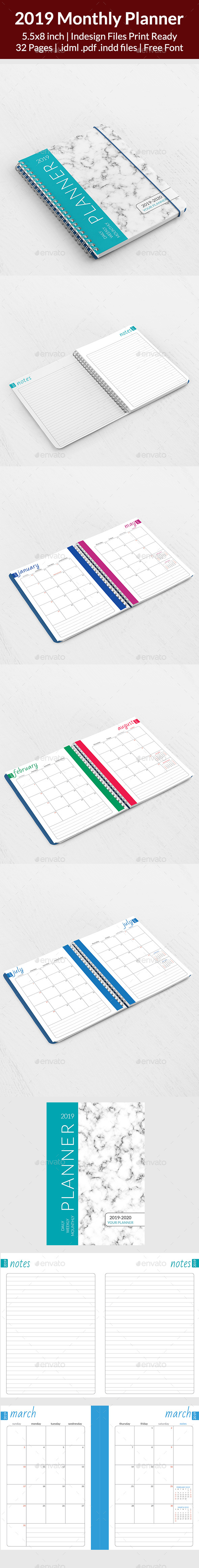 2019 Monthly Planner - Calendars Stationery
