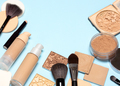 Corrective makeup products and make-up brushes with copy space