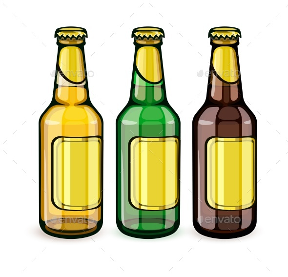 Beer Bottles with Empty Labels - Man-made Objects Objects