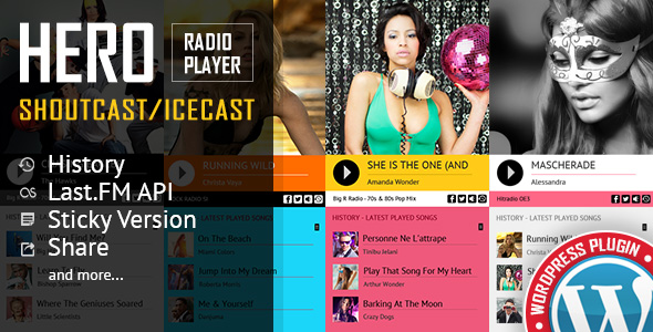 Hero - Shoutcast and Icecast Radio Player With History - WordPress Plugin - CodeCanyon Item for Sale