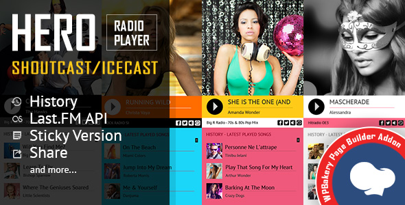 Hero - Shoutcast and Icecast Radio Player With History - Visual Composer Addon - CodeCanyon Item for Sale