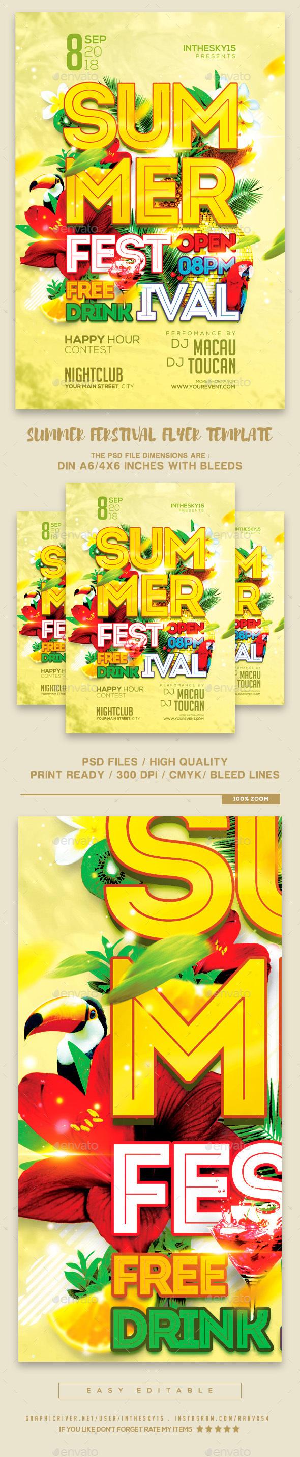 Summer Festival Flyer Template - Flyers Print Templates
