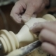Sanding Wood on a Lathe. Foot Operated Spring Pole Wood Lathe. - VideoHive Item for Sale