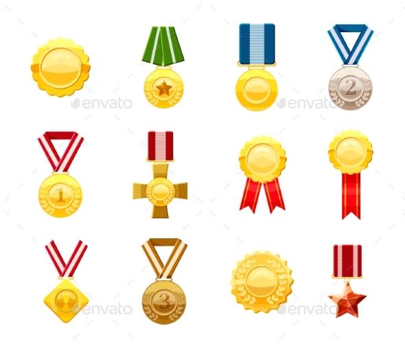 Gold Medal Icon Set - Miscellaneous Vectors