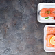 two fresh raw salmon steaks are laying on white food tray made from polystyrene foam - PhotoDune Item for Sale
