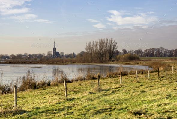 River foreland near Batenburg - Stock Photo - Images