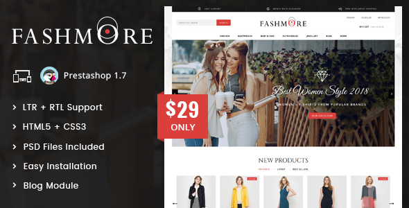 Image of FashMore - Unique Fashion Prestashop 1.7 Responsive Theme