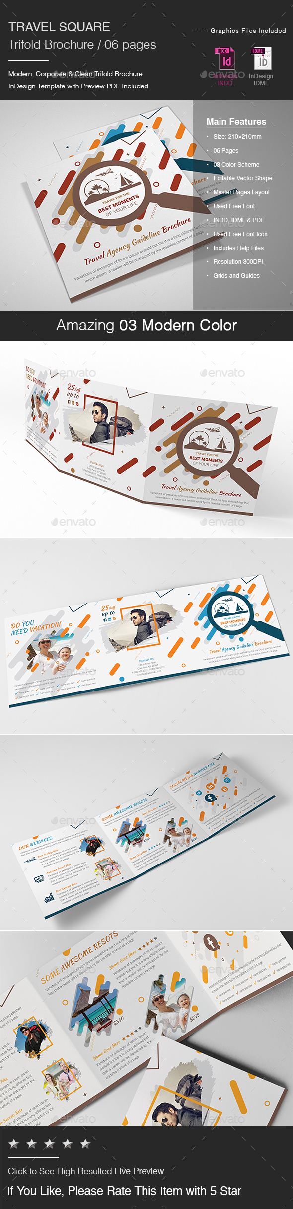 Travel Square Trifold Brochure - Brochures Print Templates