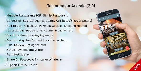 Restaurateur Android V2.0 (Full Application For Restaurant Platform With Material Design) - CodeCanyon Item for Sale