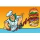 Cook Prepares Burger - GraphicRiver Item for Sale