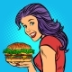 Burger and Hungry Woman - GraphicRiver Item for Sale