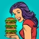 Giant Burger. Hungry Woman Eating Fast Food - GraphicRiver Item for Sale
