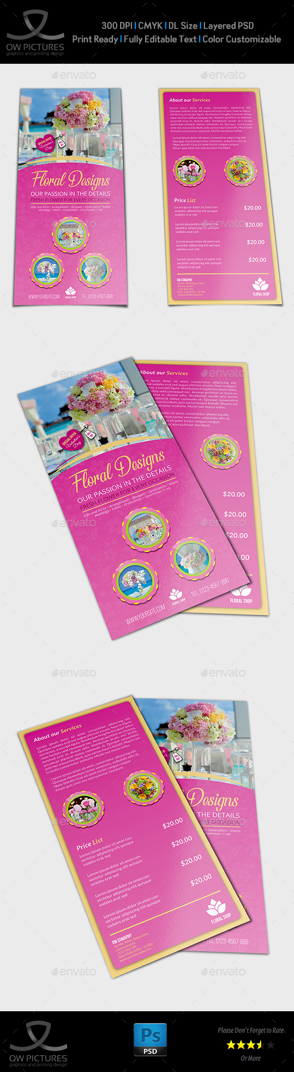 Floral Designs Flyer DL Size Template by OWPictures | GraphicRiver