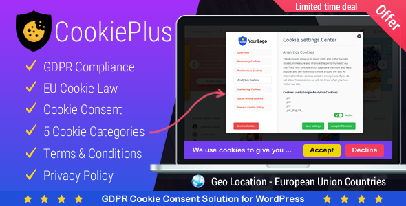 Cookie Plus - GDPR Cookie Consent Solution for WordPress            Nulled
