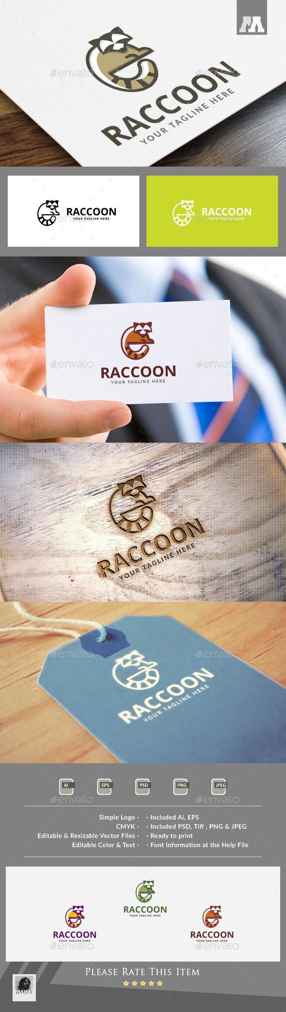 Raccoon Logo - Animals Logo Templates