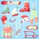 Winter Vector Sport and Clothes Icons Snow Ski
