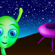 Landed little green alien with saucer visits Earth - PhotoDune Item for Sale