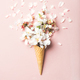 Waffle cone with white almond blossom flowers - PhotoDune Item for Sale