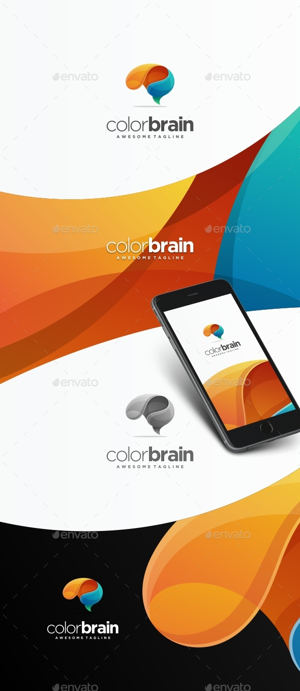 Brain Colors Logo Template - Abstract Logo Templates