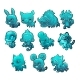 Set Cartoon Ice Figurines of Animals Turquoise - GraphicRiver Item for Sale